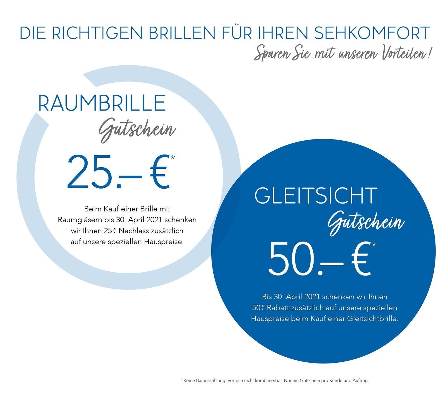 Gutschein für Gleitsichtbrille und Raumbrille 25€ und 50€